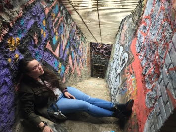 Here I am soaking in the graffiti upon the walls of animal tunnels from the abandoned zoo